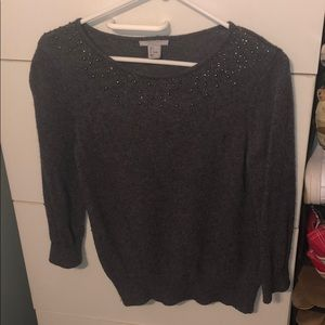 Jeweled gray sweater